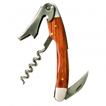 Straight Stainless Steel Corkscrew with Brown Wood Inset