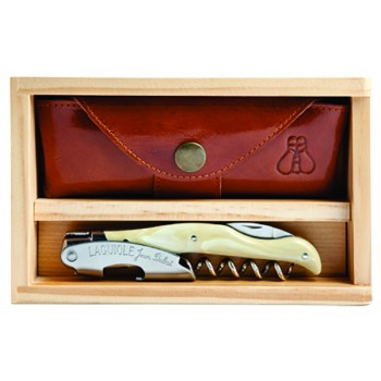 Laguiole Millésime® Blonde Horn Set with Wood Box and Leather Pouch