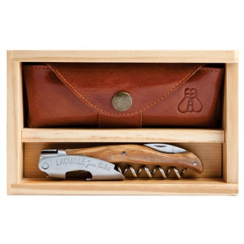 Laguiole Millésime® Genuine Olivewood Set with Wood Box and Leather Pouch