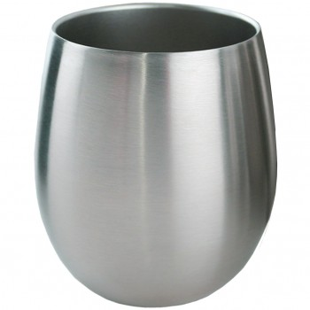 Triple-Wall Stemless Wine Glass, Stainless Steel, 8 oz. Rimfull