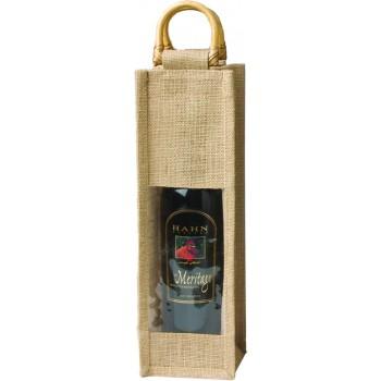 Jute Vino-Sack with Window, One Bottle