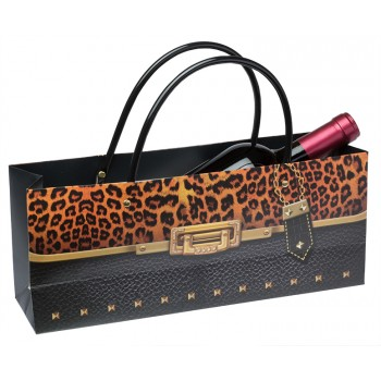 Cheetah Horizontal Wine Bottle Bag