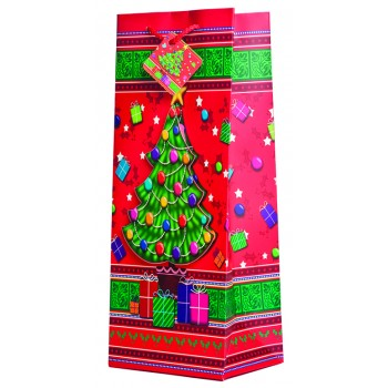 Pop-Up Yuletide Christmas Tree Wine Gift Bag