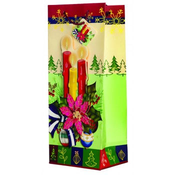 Poinsettia Candles Holiday Wine Gift Bag