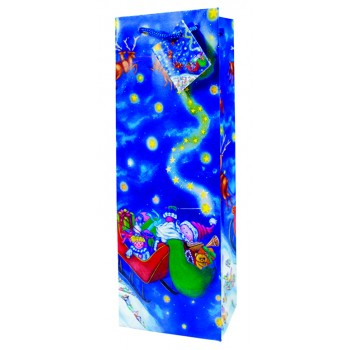 Santa's Sleigh,  Paper Holiday Wine Bag