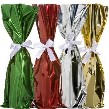 Mylar Wine Bag with Ribbon,