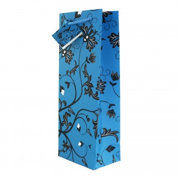 Teal/Black Floral Wine Bag *Web Exclusive*