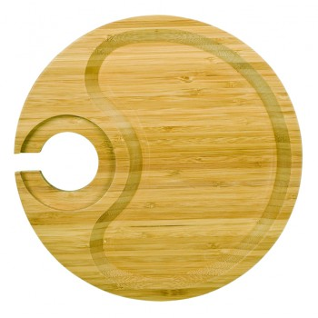Round Party Plate™ With Built-in Stemware Holder-Bamboo