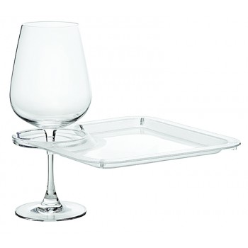 Party Plate with Built-In Stemware Holder