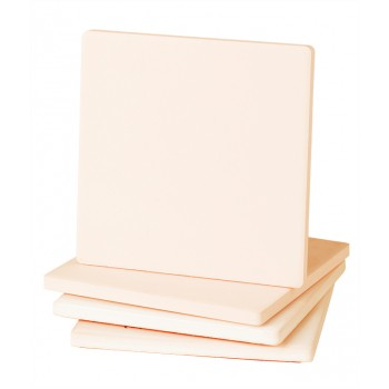 "4"" Square Absorbent Stone Coaster. Cork-backed to protect surfaces."