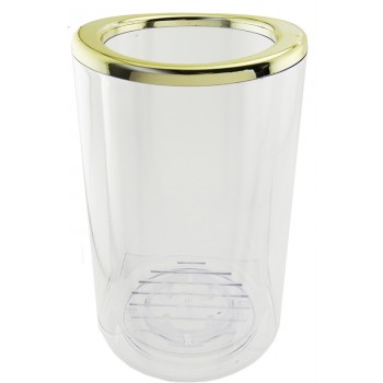 Gondola™ Thermal Wine Cooler, Clear Acrylic, Gold- Plated Rim