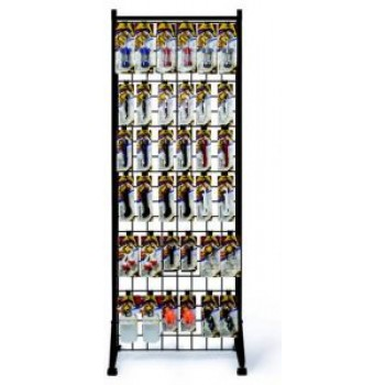 Two-Sided Steel Tower Gridwall Rack With Casters.