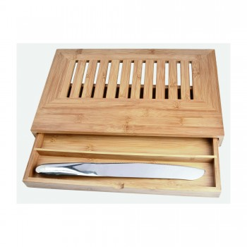 Deluxe Bread Cutting Board w/Drawer & Knife
