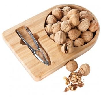 Bamboo Nut Tray with Nutcracker