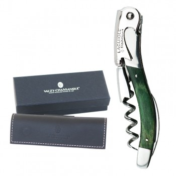 Laguiole Tradition® Two-Lever Waiter's Corkscrew, Green Stamina