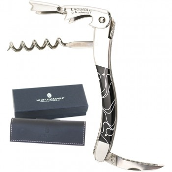 Laguiole Tradition® Two-Lever Waiter's Corkscrew, Black with Lines Handle