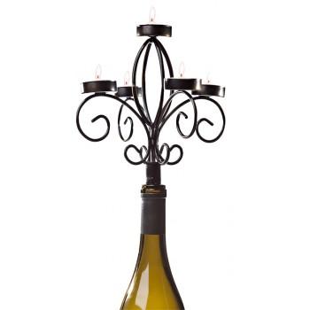 Wine Bottle Candelabra, Antique Black