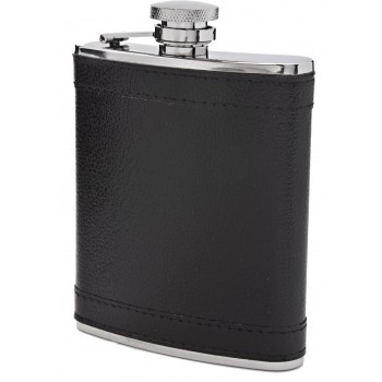 S/S 8 oz Flask with Black Leatherette