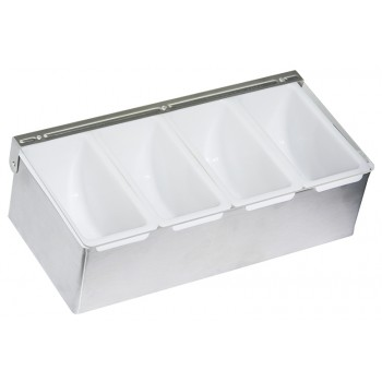 Barkeeper's Condiment Holders, Stainless Steel, 4 Compartments