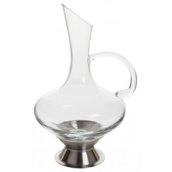 Virtual Orbital Decanter, with Handle with Stainless Steel Base, 2 Quart Rim-full