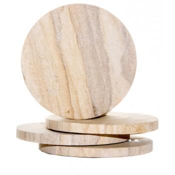 Sandstone Round Coasters, Natural Radiant, Set of 4