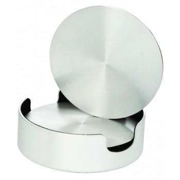 Aluminum Coasters, Cushioned Base with Holder- set of 4