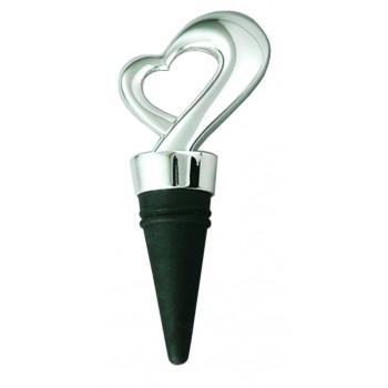 Framed Heart Bottle Stopper, Silver Plated