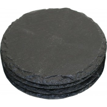 Round Slate coasters, Mineral Finish, Set of 4 in Kraft Box