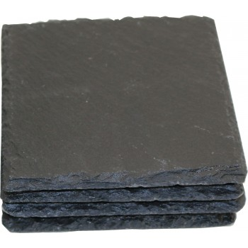 Square Slate coasters, Mineral Finish, Set of 4 in Kraft Box