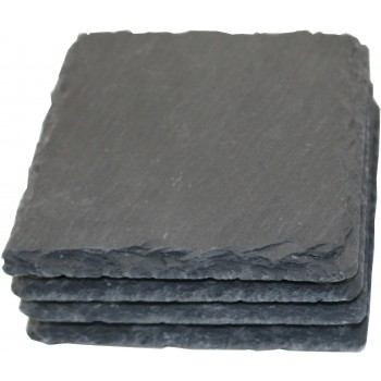 Square Slate Coasters, Natural, Set of 4 in Kraft Box
