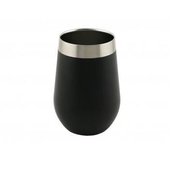 Triple-Wall Stemless Wine Glass, S/S, 12 oz. Black Textured
