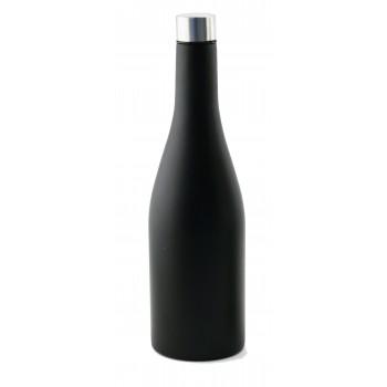 750 ml Wine Bottle, Chardonnay shape, Tri-Wall Black Textured S/S