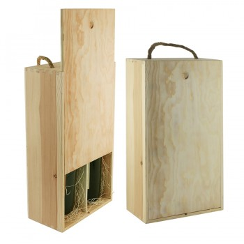 WineChest™ Two bottle Wood Box w/ rope Handle