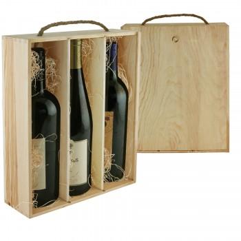 WineChest™ Three Bottle Wood Box w/ Rope Handle