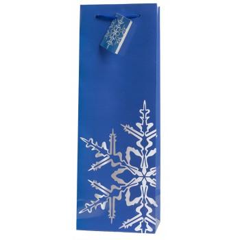 Snowflake Blue Wine Bag