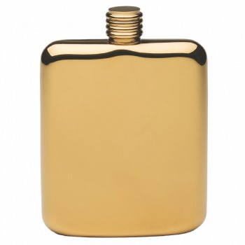Gold Plated Sleekline Pocket Flask, 6 oz.
