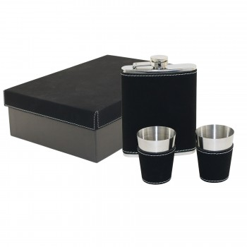 Laserable Leatherette Captive-Top Flask Set 8 oz. with Two Jigger Cups