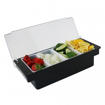 """Caterer's Condiment Holders, Strong Plastic Frame, Four 1-Pint Compartments, 14-1/4"""" Long"""