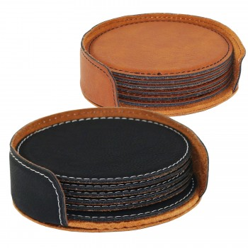Suave™ Round Coaster Set (6) w/Holder Leatherette Black (01) or Rawhide (30)