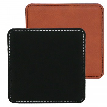Suave Square Coaster Leatherette- Black (01) or Rawhide (30)