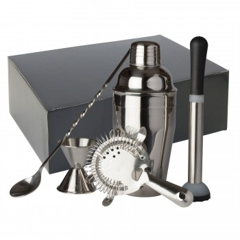 Bar Gift Set #12 (5 Piece Set) in Black Gift Box, Stainless Steel