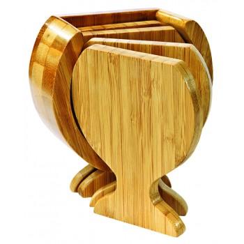 Wine Glass Shaped Bamboo Coaster