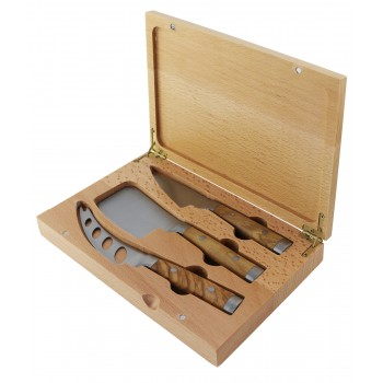 Forged Cheese Knife Set Olivewood hdl/Wood Bx