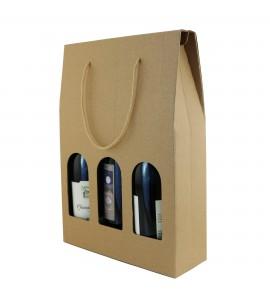 Heavy Duty Kraft Wine Bottle Carrier, Three Bottle
