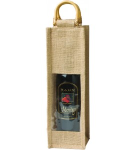 Jute Vino-Sack with Window, One Bottle