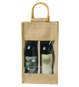 Jute Vino-Sack™ with Window, Two Bottles