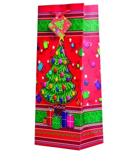 Pop-Up Yuletide Christmas Tree Wine Gift Bag
