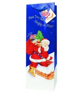 Santa On His Way Wine Bag