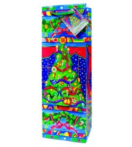 Christmas Tree  Paper Holiday Wine Bag
