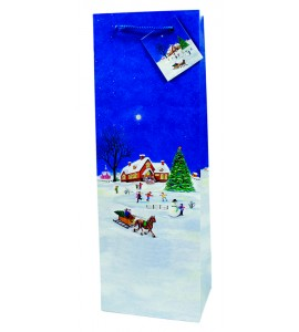 Country Christmas  Paper Holiday Wine Bag